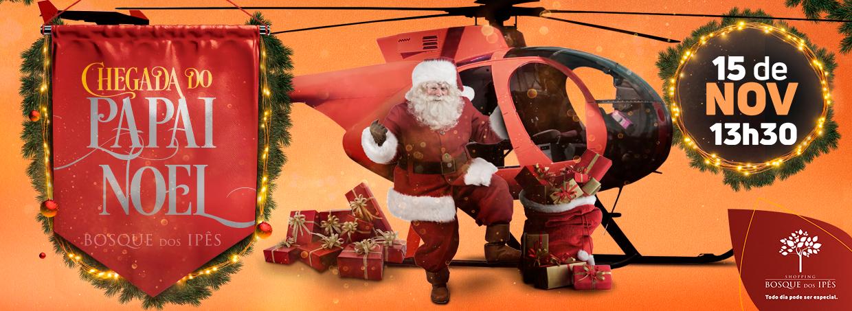 Papai Noel chega de helicóptero no Shopping Bosque dos Ipês